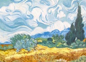 Campo di grano con cipressi de Van Gogh